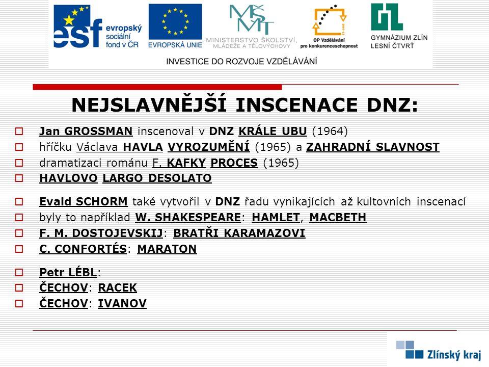 NEJSLAVNĚJŠÍ INSCENACE DNZ:  Jan GROSSMAN inscenoval v DNZ KRÁLE UBU (1964)  hříčku Václava HAVLA VYROZUMĚNÍ (1965) a ZAHRADNÍ SLAVNOST  dramatizac
