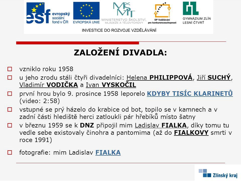 ZALOŽENÍ DIVADLA:  vzniklo roku 1958  u jeho zrodu stáli čtyři divadelníci: Helena PHILIPPOVÁ, Jiří SUCHÝ, Vladimír VODIČKA a Ivan VYSKOČIL  první