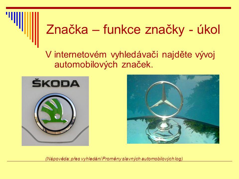 Značka – funkce značky - úkol V internetovém vyhledávači najděte vývoj automobilových značek.
