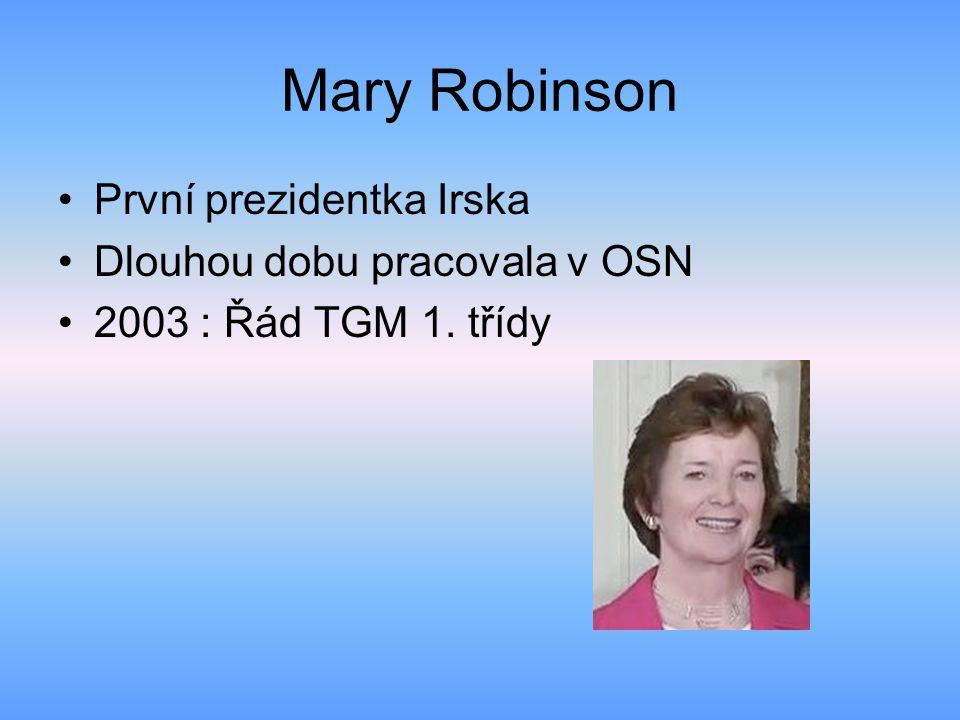 Mary McAleese Současná prezidentka Irska Politická strana Fianna Fáil