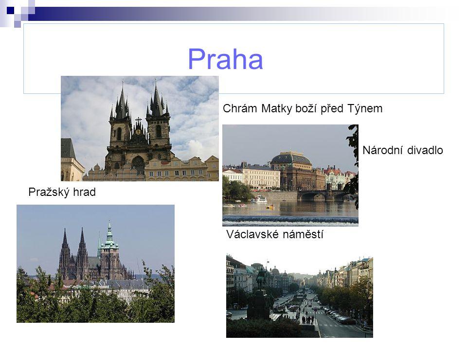 Praha Chrám Matky boží před Týnem Národní divadlo Pražský hrad Václavské náměstí
