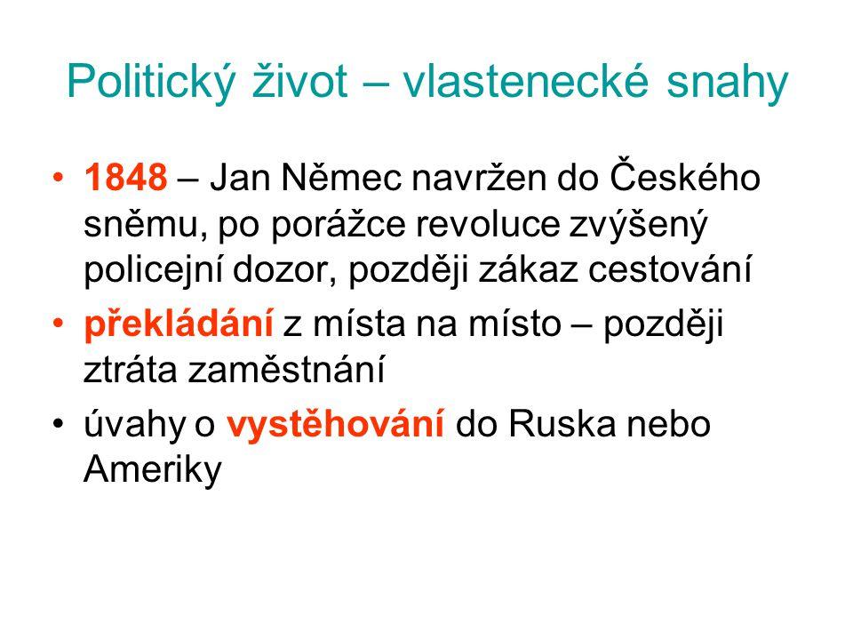 Politický život – vlastenecké snahy 1848 – Jan Němec navržen do Českého sněmu, po porážce revoluce zvýšený policejní dozor, později zákaz cestování př