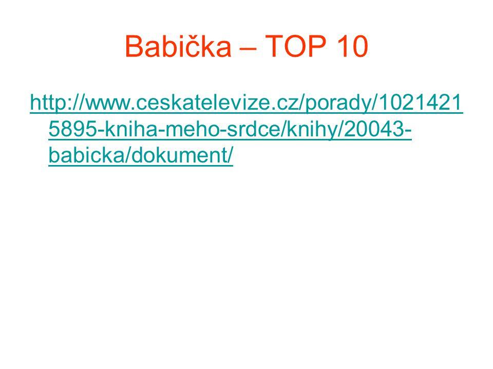 Babička – TOP 10 http://www.ceskatelevize.cz/porady/1021421 5895-kniha-meho-srdce/knihy/20043- babicka/dokument/