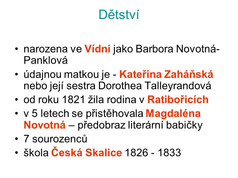 Dětství narozena ve Vídni jako Barbora Novotná- Panklová údajnou matkou je - Kateřina Zaháňská nebo její sestra Dorothea Talleyrandová od roku 1821 ži