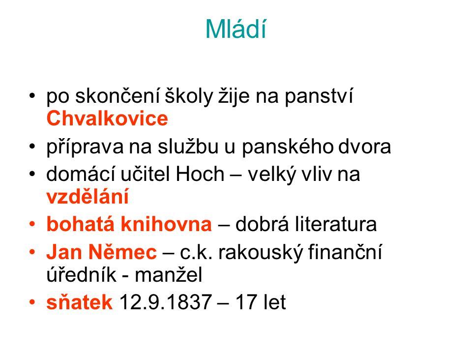 Mládí po skončení školy žije na panství Chvalkovice příprava na službu u panského dvora domácí učitel Hoch – velký vliv na vzdělání bohatá knihovna –