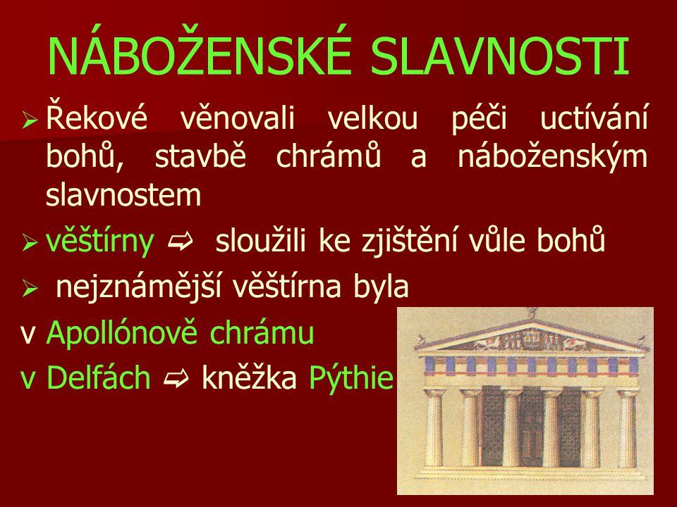 NÁBOŽENSKÉ SLAVNOSTI   Řekové věnovali velkou péči uctívání bohů, stavbě chrámů a náboženským slavnostem   věštírny  sloužili ke zjištění vůle bo