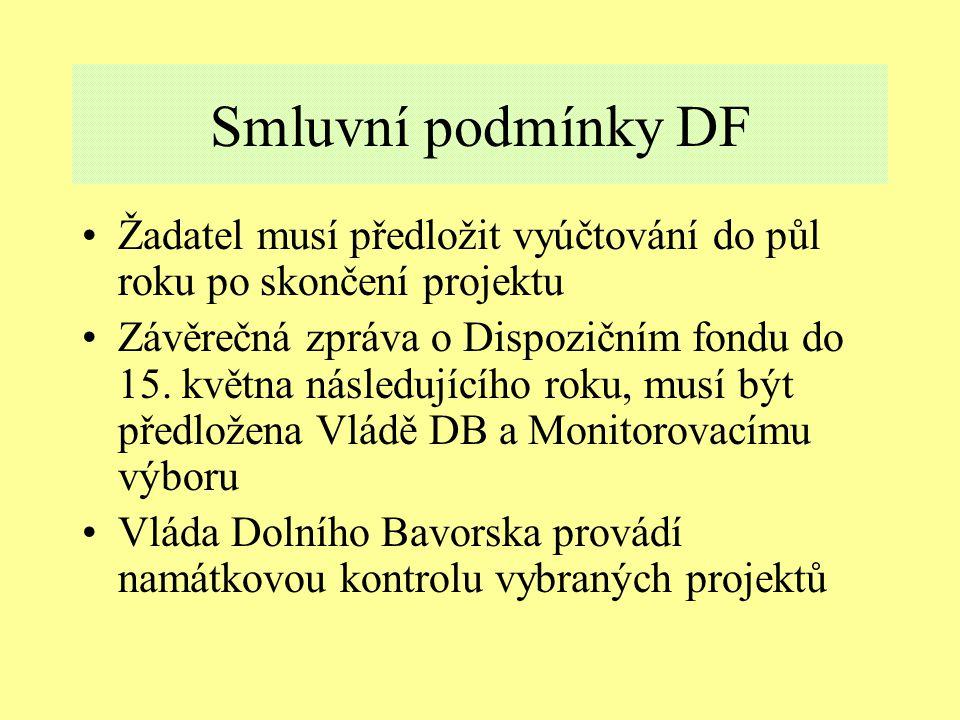 Smluvní podmínky DF Žadatel musí předložit vyúčtování do půl roku po skončení projektu Závěrečná zpráva o Dispozičním fondu do 15.