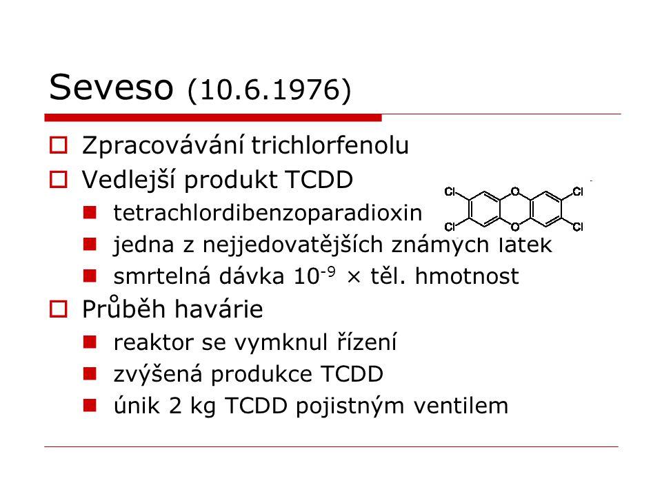 Seveso (10.6.1976)  Zpracovávání trichlorfenolu  Vedlejší produkt TCDD tetrachlordibenzoparadioxin jedna z nejjedovatějších známých látek smrtelná d