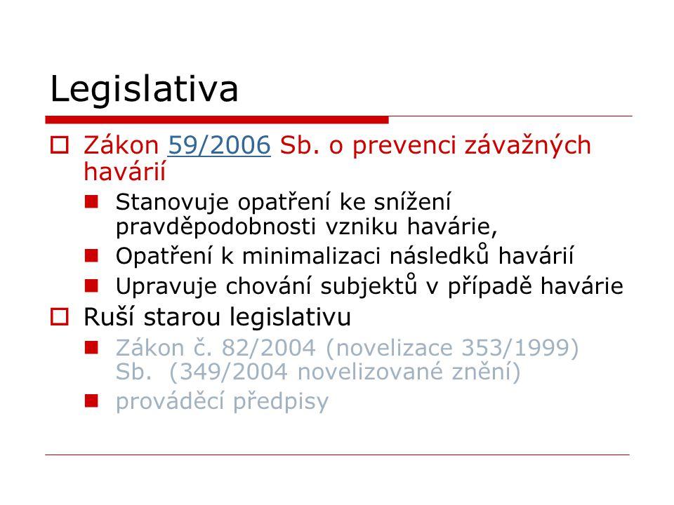 Legislativa  Zákon 59/2006 Sb. o prevenci závažných havárií59/2006 Stanovuje opatření ke snížení pravděpodobnosti vzniku havárie, Opatření k minimali