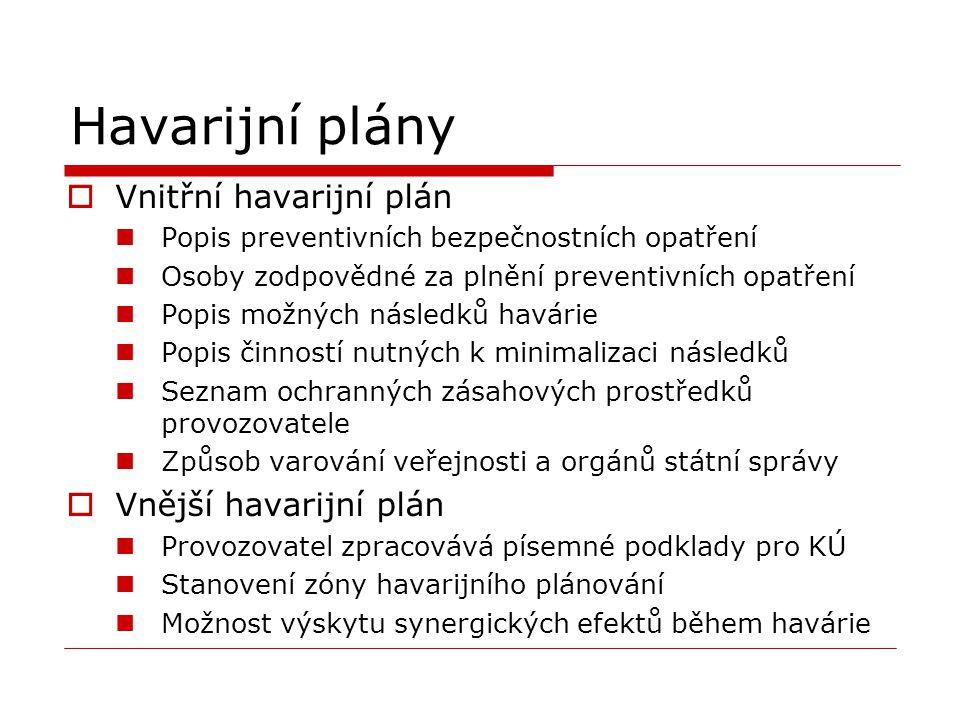 Havarijní plány  Vnitřní havarijní plán Popis preventivních bezpečnostních opatření Osoby zodpovědné za plnění preventivních opatření Popis možných n