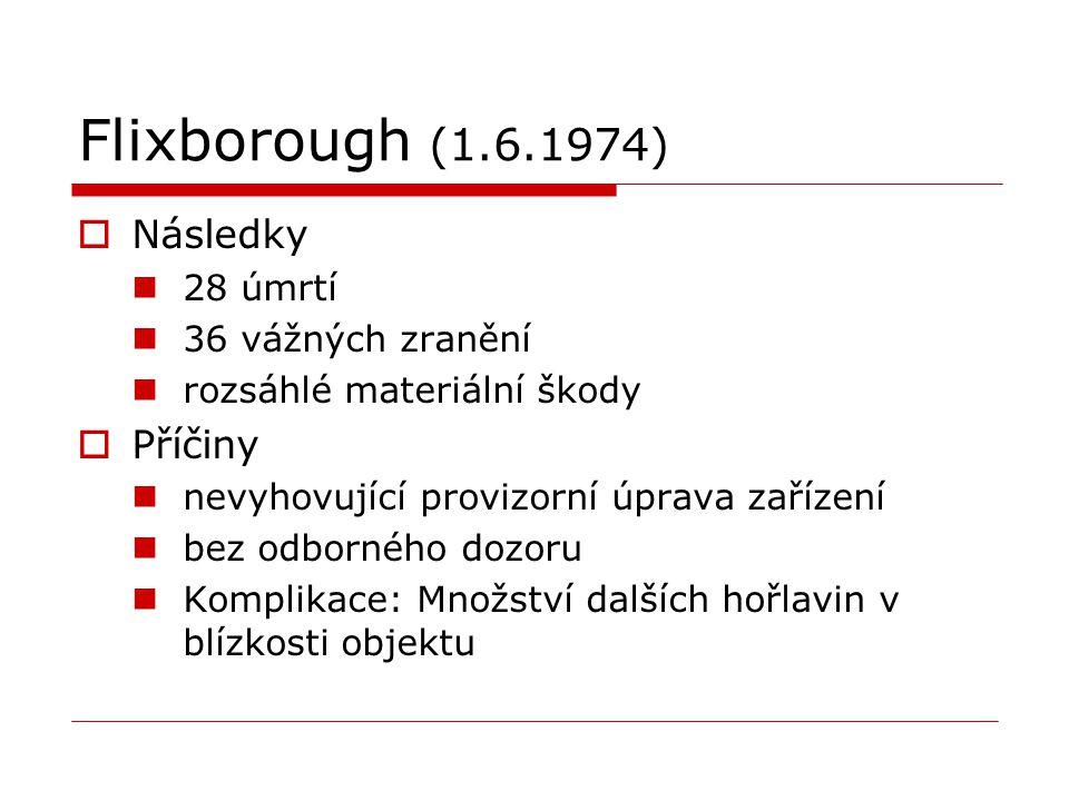 Flixborough (1.6.1974)  Následky 28 úmrtí 36 vážných zranění rozsáhlé materiální škody  Příčiny nevyhovující provizorní úprava zařízení bez odbornéh