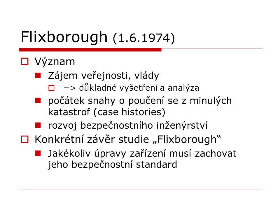 Flixborough (1.6.1974)  Význam Zájem veřejnosti, vlády  => důkladné vyšetření a analýza počátek snahy o poučení se z minulých katastrof (case histor