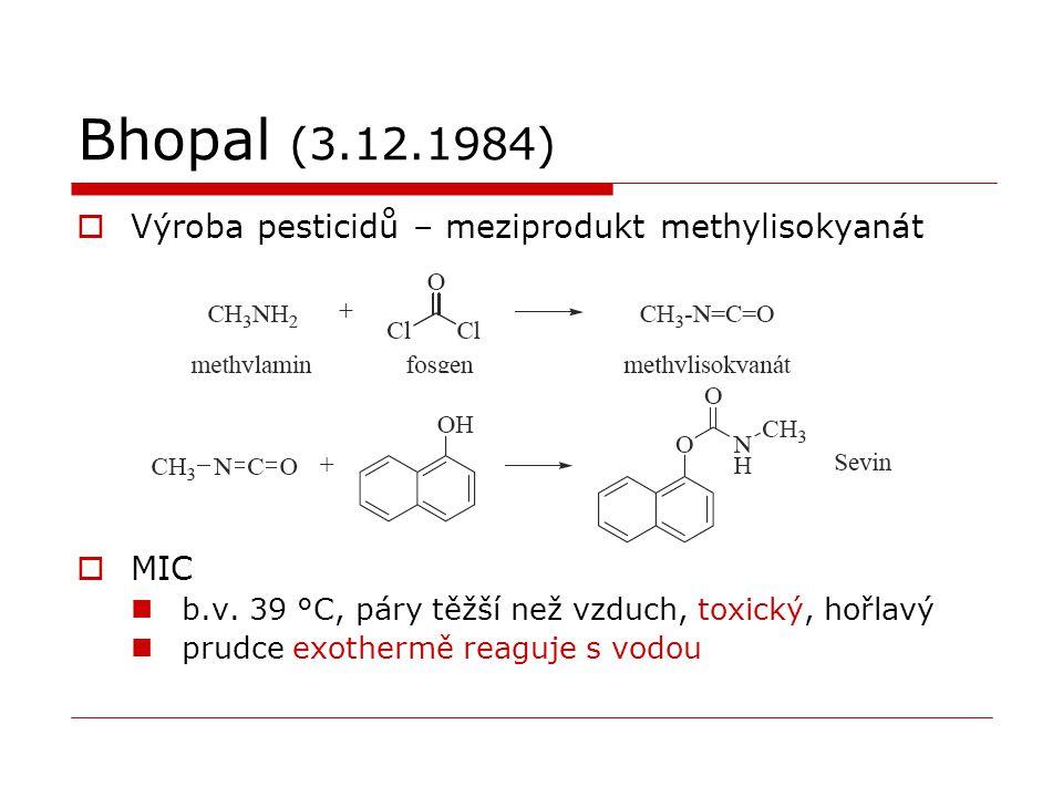 Bhopal (3.12.1984)  Výroba pesticidů – meziprodukt methylisokyanát  MIC b.v. 39 °C, páry těžší než vzduch, toxický, hořlavý prudce exothermě reaguje