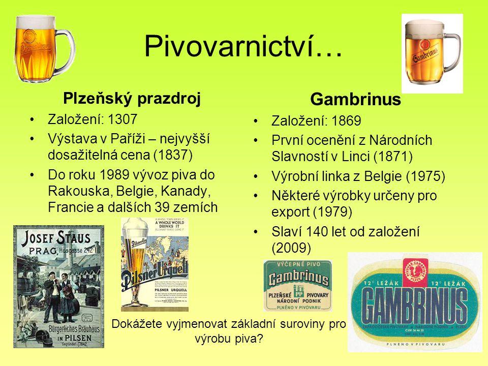 Pivovarnictví… Plzeňský prazdroj Založení: 1307 Výstava v Paříži – nejvyšší dosažitelná cena (1837) Do roku 1989 vývoz piva do Rakouska, Belgie, Kanad
