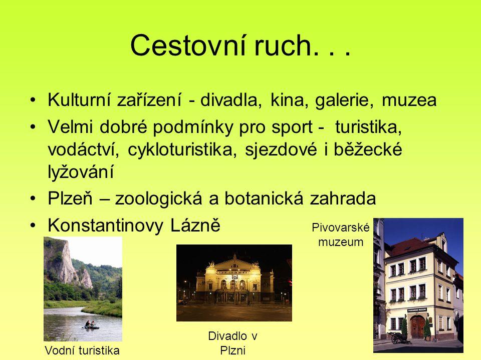 Cestovní ruch... Kulturní zařízení - divadla, kina, galerie, muzea Velmi dobré podmínky pro sport - turistika, vodáctví, cykloturistika, sjezdové i bě