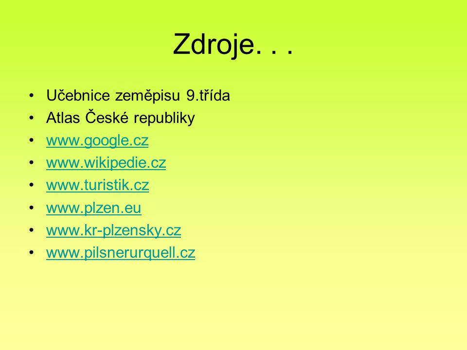 Zdroje... Učebnice zeměpisu 9.třída Atlas České republiky www.google.cz www.wikipedie.cz www.turistik.cz www.plzen.eu www.kr-plzensky.cz www.pilsnerur