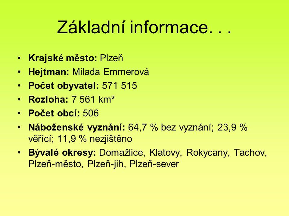 Základní informace... Krajské město: Plzeň Hejtman: Milada Emmerová Počet obyvatel: 571 515 Rozloha: 7 561 km² Počet obcí: 506 Náboženské vyznání: 64,