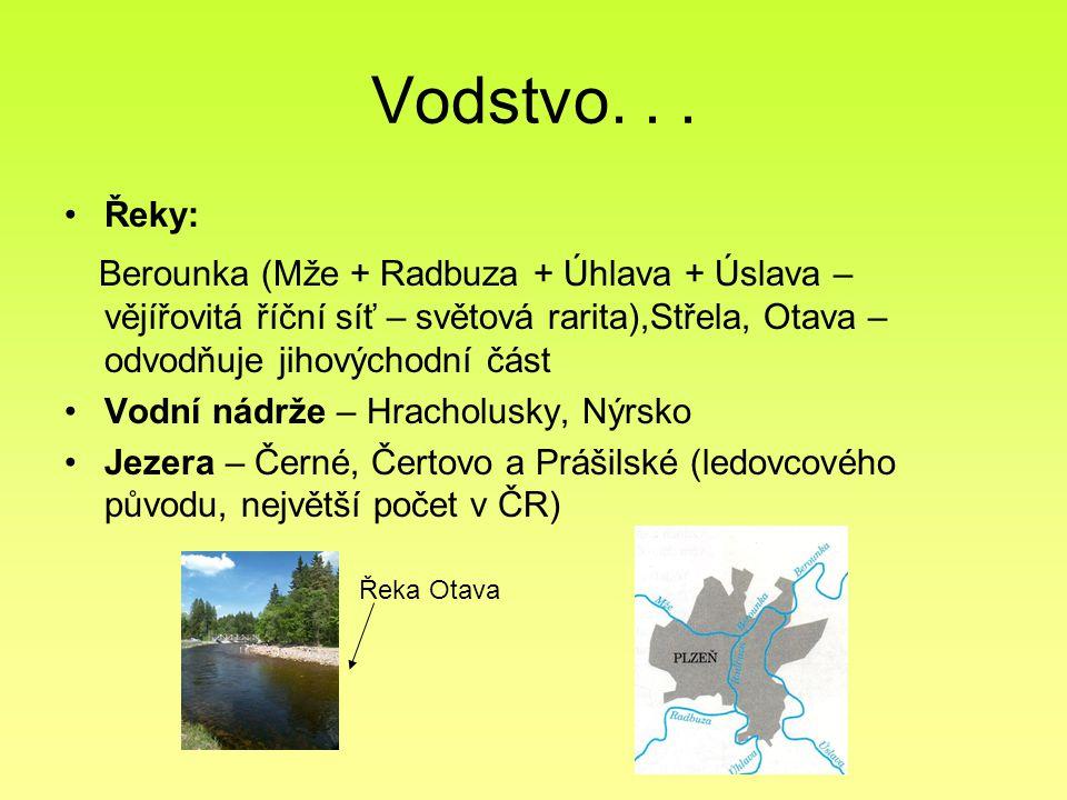 Vodstvo... Řeky: Berounka (Mže + Radbuza + Úhlava + Úslava – vějířovitá říční síť – světová rarita),Střela, Otava – odvodňuje jihovýchodní část Vodní