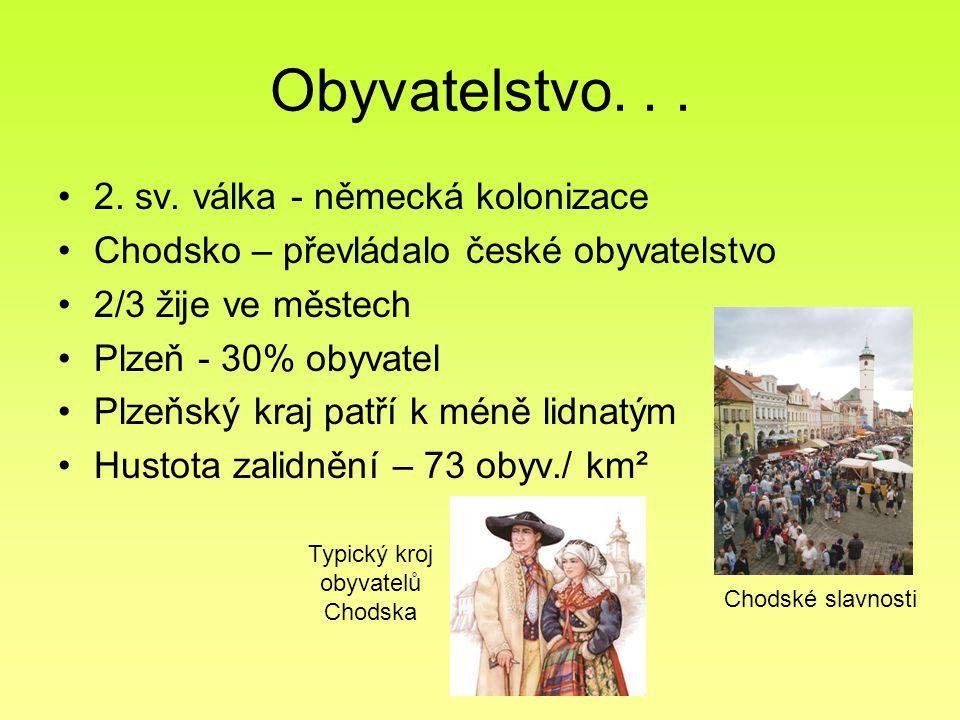 Obyvatelstvo... 2. sv. válka - německá kolonizace Chodsko – převládalo české obyvatelstvo 2/3 žije ve městech Plzeň - 30% obyvatel Plzeňský kraj patří