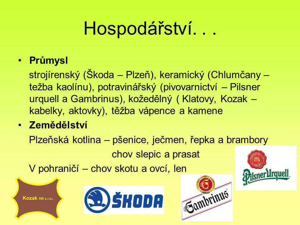 Hospodářství... Průmysl strojírenský (Škoda – Plzeň), keramický (Chlumčany – težba kaolínu), potravinářský (pivovarnictví – Pilsner urquell a Gambrinu