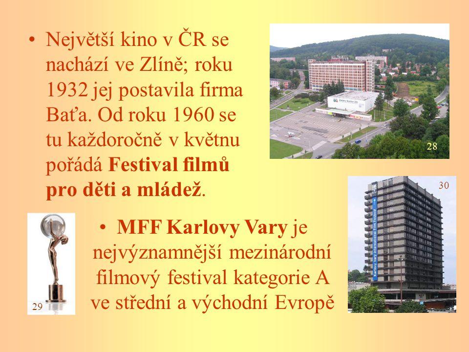 Největší kino v ČR se nachází ve Zlíně; roku 1932 jej postavila firma Baťa. Od roku 1960 se tu každoročně v květnu pořádá Festival filmů pro děti a ml