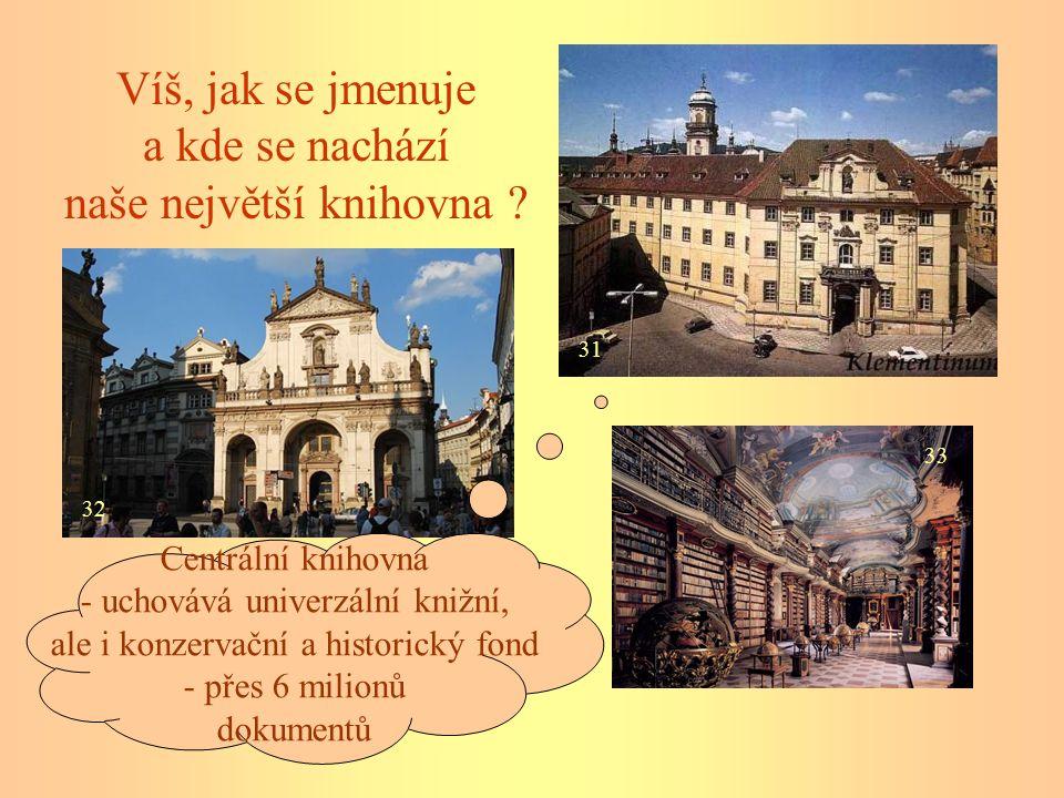 31 33 32 Víš, jak se jmenuje a kde se nachází naše největší knihovna ? Centrální knihovna - uchovává univerzální knižní, ale i konzervační a historick