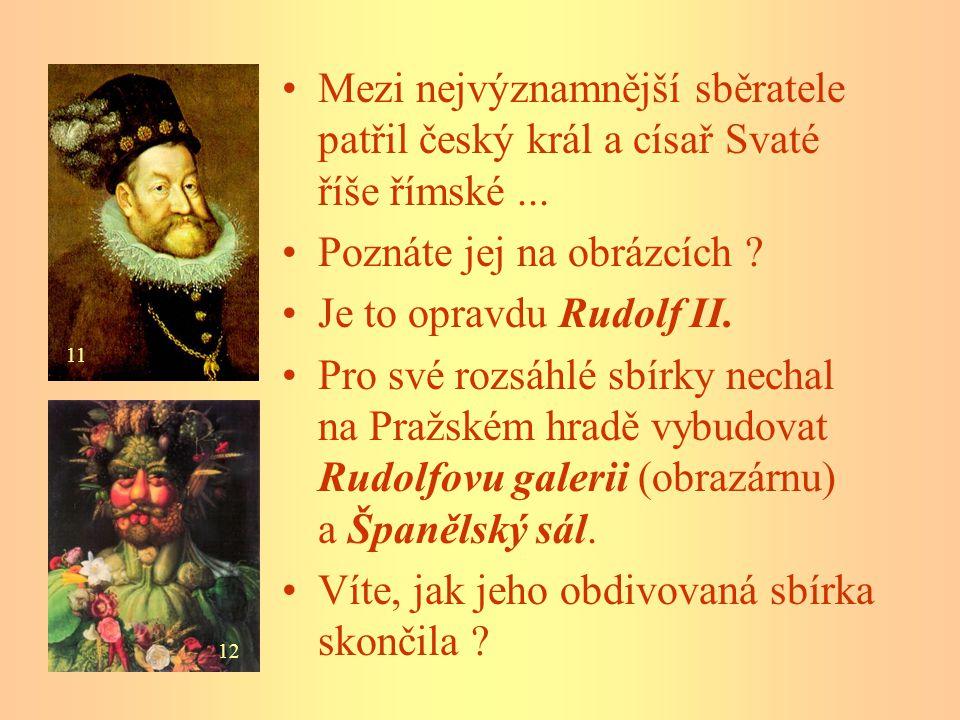 Mezi nejvýznamnější sběratele patřil český král a císař Svaté říše římské... Poznáte jej na obrázcích ? Je to opravdu Rudolf II. Pro své rozsáhlé sbír
