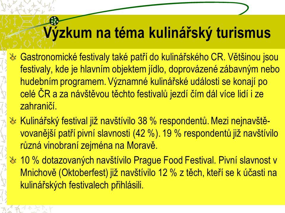 Výzkum na téma kulinářský turismus Gastronomické festivaly také patří do kulinářského CR. Většinou jsou festivaly, kde je hlavním objektem jídlo, dopr