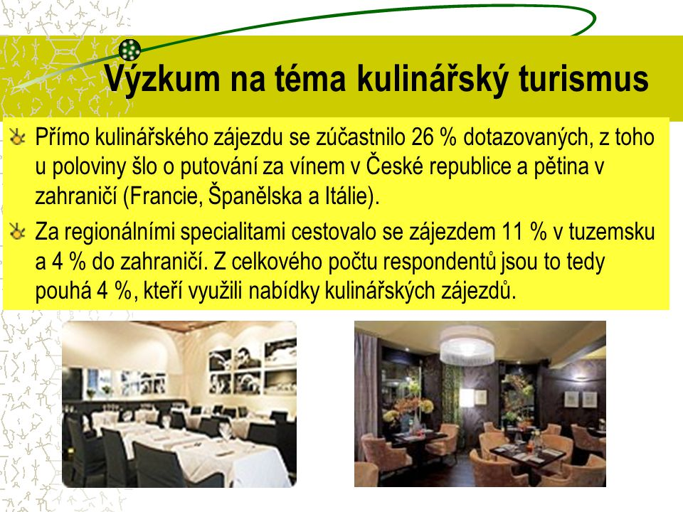 Výzkum na téma kulinářský turismus Přímo kulinářského zájezdu se zúčastnilo 26 % dotazovaných, z toho u poloviny šlo o putování za vínem v České repub