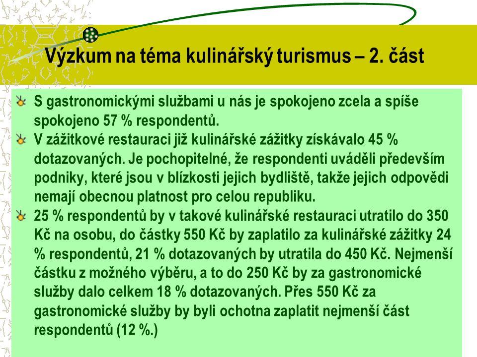 S gastronomickými službami u nás je spokojeno zcela a spíše spokojeno 57 % respondentů. V zážitkové restauraci již kulinářské zážitky získávalo 45 % d