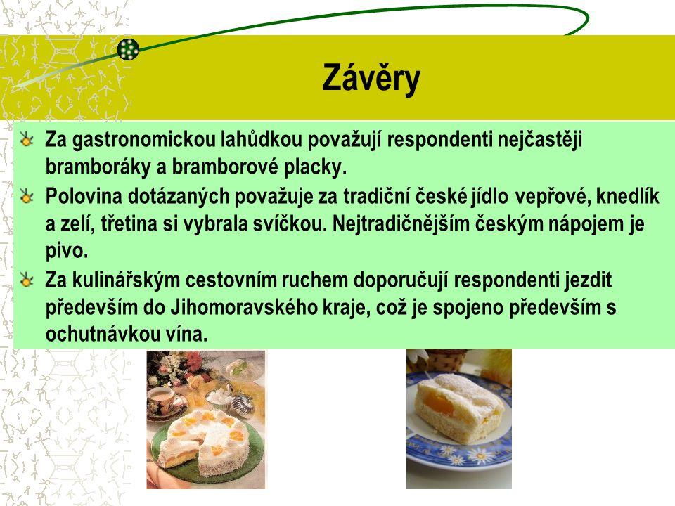 Závěry Za gastronomickou lahůdkou považují respondenti nejčastěji bramboráky a bramborové placky. Polovina dotázaných považuje za tradiční české jídlo