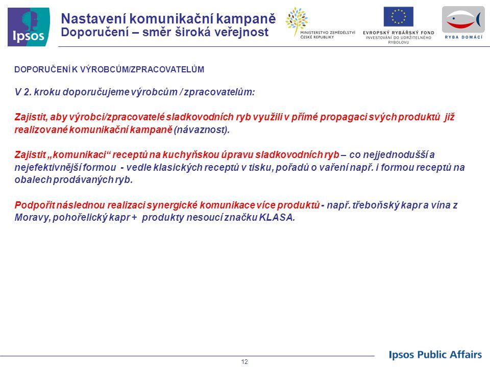 12 Nastavení komunikační kampaně Doporučení – směr široká veřejnost DOPORUČENÍ K VÝROBCŮM/ZPRACOVATELŮM V 2. kroku doporučujeme výrobcům / zpracovatel