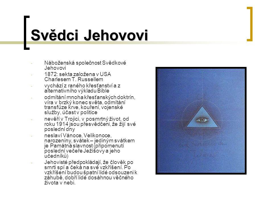 Svědci Jehovovi - Náboženská společnost Svědkové Jehovovi - 1872: sekta založena v USA Charlesem T.