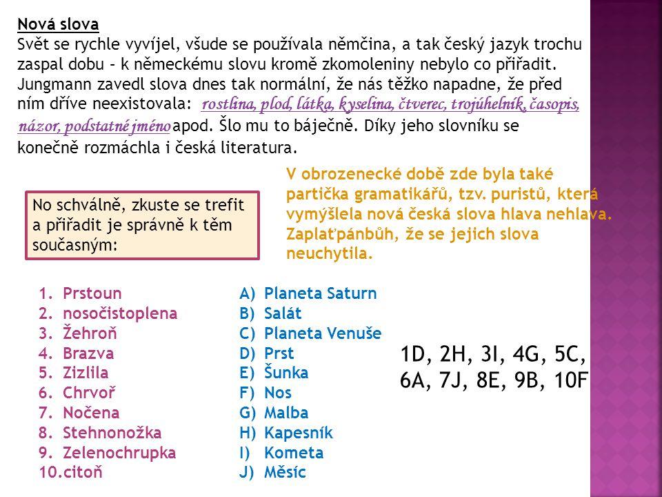 Nová slova Svět se rychle vyvíjel, všude se používala němčina, a tak český jazyk trochu zaspal dobu – k německému slovu kromě zkomoleniny nebylo co př