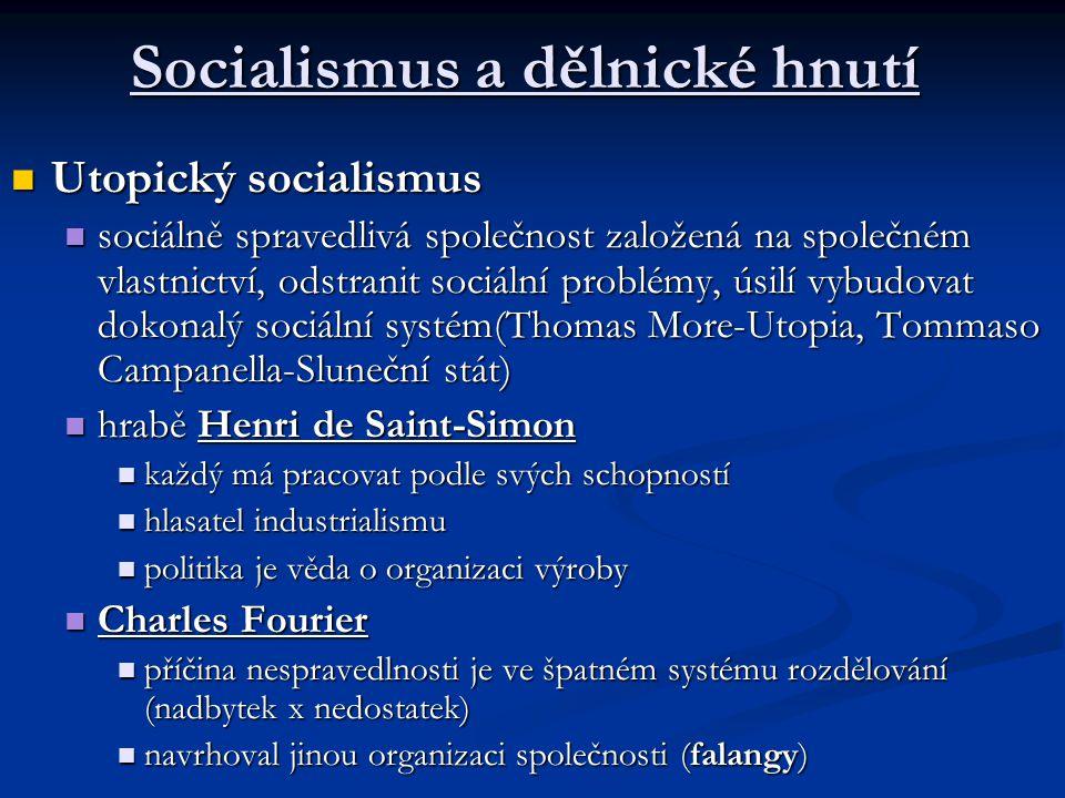 Socialismus a dělnické hnutí Utopický socialismus Utopický socialismus sociálně spravedlivá společnost založená na společném vlastnictví, odstranit sociální problémy, úsilí vybudovat dokonalý sociální systém(Thomas More-Utopia, Tommaso Campanella-Sluneční stát) sociálně spravedlivá společnost založená na společném vlastnictví, odstranit sociální problémy, úsilí vybudovat dokonalý sociální systém(Thomas More-Utopia, Tommaso Campanella-Sluneční stát) hrabě Henri de Saint-Simon hrabě Henri de Saint-Simon každý má pracovat podle svých schopností každý má pracovat podle svých schopností hlasatel industrialismu hlasatel industrialismu politika je věda o organizaci výroby politika je věda o organizaci výroby Charles Fourier Charles Fourier příčina nespravedlnosti je ve špatném systému rozdělování (nadbytek x nedostatek) příčina nespravedlnosti je ve špatném systému rozdělování (nadbytek x nedostatek) navrhoval jinou organizaci společnosti (falangy) navrhoval jinou organizaci společnosti (falangy)