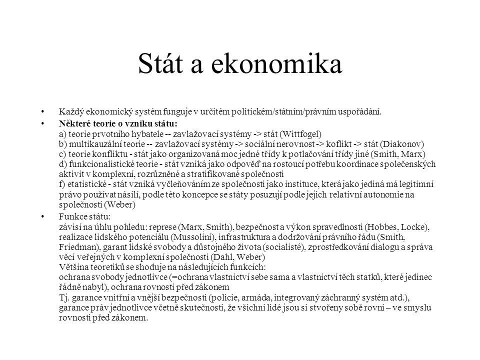 Stát a ekonomika Každý ekonomický systém funguje v určitém politickém/státním/právním uspořádání.
