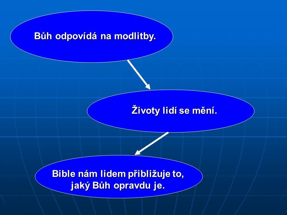 Bůh odpovídá na modlitby. Životy lidí se mění. Bible nám lidem přibližuje to, jaký Bůh opravdu je.
