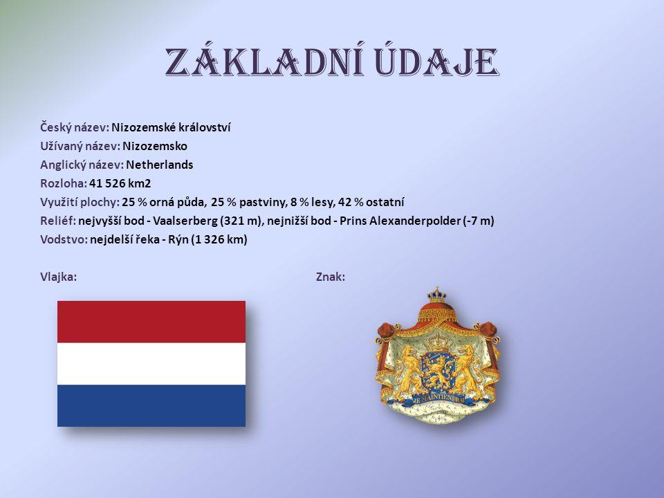 Základní údaje Český název: Nizozemské království Užívaný název: Nizozemsko Anglický název: Netherlands Rozloha: 41 526 km2 Využití plochy: 25 % orná