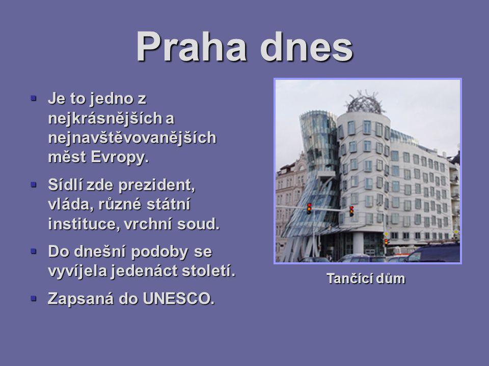 Praha dnes  Je to jedno z nejkrásnějších a nejnavštěvovanějších měst Evropy.  Sídlí zde prezident, vláda, různé státní instituce, vrchní soud.  Do