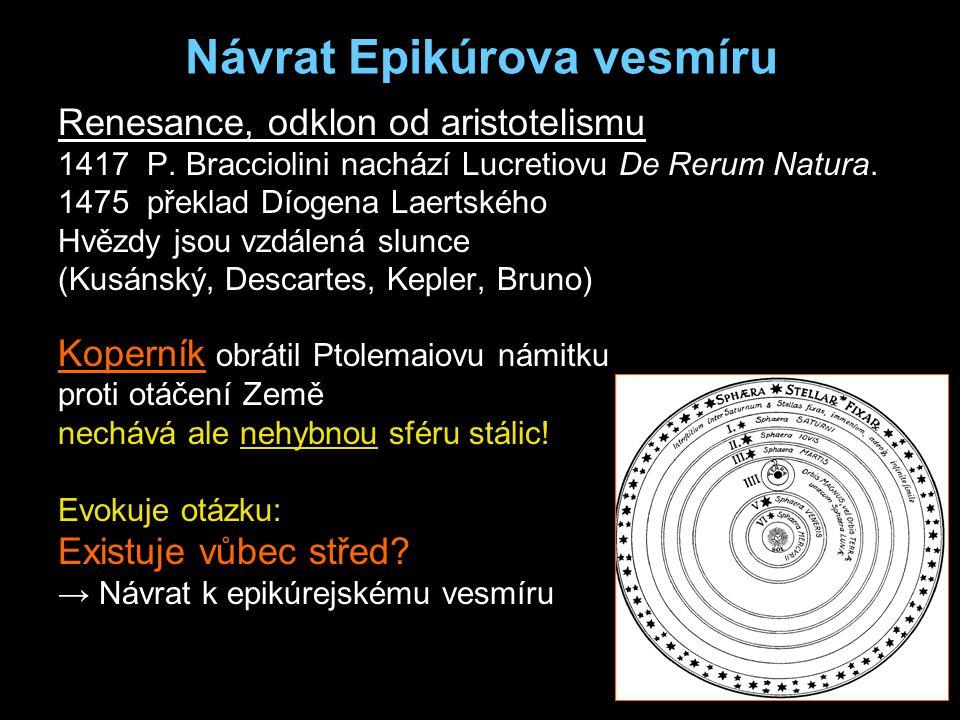 Návrat Epikúrova vesmíru Renesance, odklon od aristotelismu 1417 P.