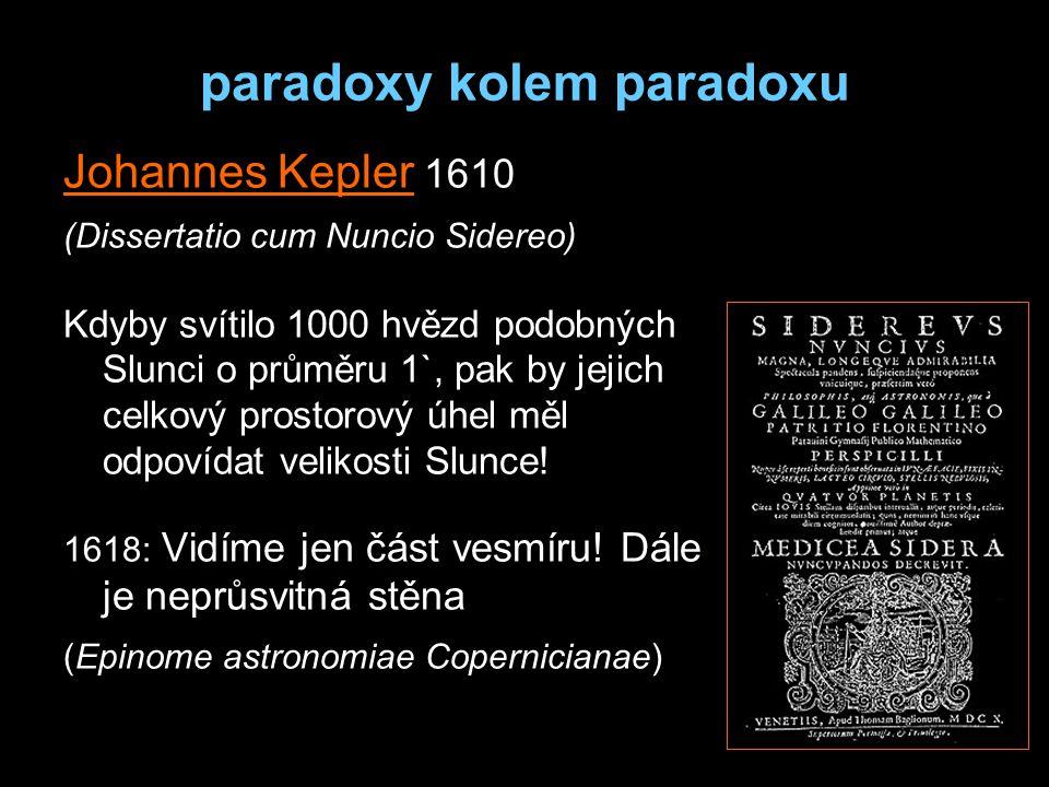 paradoxy kolem paradoxu Johannes Kepler 1610 (Dissertatio cum Nuncio Sidereo) Kdyby svítilo 1000 hvězd podobných Slunci o průměru 1`, pak by jejich celkový prostorový úhel měl odpovídat velikosti Slunce.