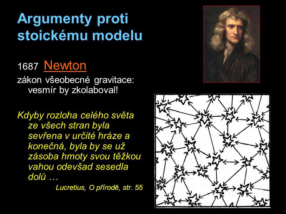 Argumenty proti stoickému modelu 1687 Newton zákon všeobecné gravitace: vesmír by zkolaboval.