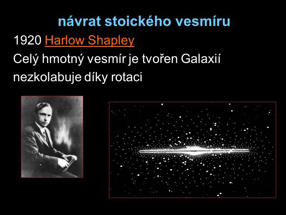 návrat stoického vesmíru 1920 Harlow Shapley Celý hmotný vesmír je tvořen Galaxií nezkolabuje díky rotaci