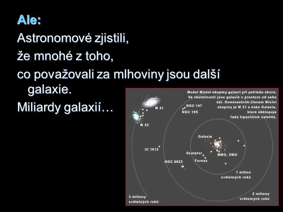 Ale: Astronomové zjistili, že mnohé z toho, co považovali za mlhoviny jsou další galaxie.