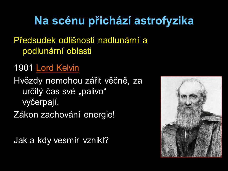 """Na scénu přichází astrofyzika Předsudek odlišnosti nadlunární a podlunární oblasti 1901 Lord Kelvin Hvězdy nemohou zářit věčně, za určitý čas své """"palivo vyčerpají."""