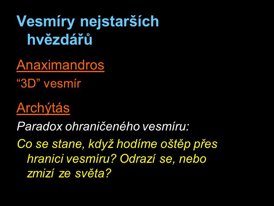 Vesmíry nejstarších hvězdářů Anaximandros 3D vesmír Archýtás Paradox ohraničeného vesmíru: Co se stane, když hodíme oštěp přes hranici vesmíru.