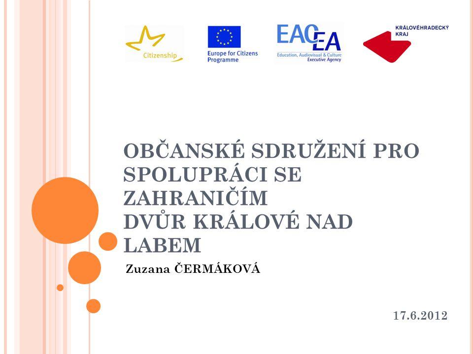 OBČANSKÉ SDRUŽENÍ PRO SPOLUPRÁCI SE ZAHRANIČÍM DVŮR KRÁLOVÉ NAD LABEM Zuzana ČERMÁKOVÁ 17.6.2012