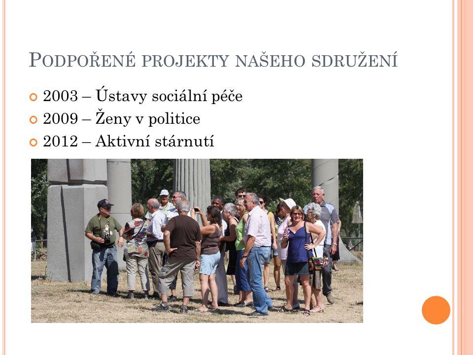 P ODPOŘENÉ PROJEKTY NAŠEHO SDRUŽENÍ 2003 – Ústavy sociální péče 2009 – Ženy v politice 2012 – Aktivní stárnutí