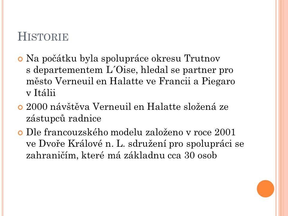 H ISTORIE Na počátku byla spolupráce okresu Trutnov s departementem L´Oise, hledal se partner pro město Verneuil en Halatte ve Francii a Piegaro v Itálii 2000 návštěva Verneuil en Halatte složená ze zástupců radnice Dle francouzského modelu založeno v roce 2001 ve Dvoře Králové n.