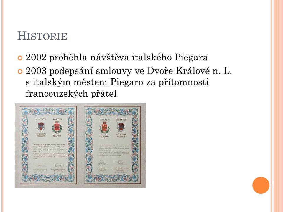 H ISTORIE 2002 proběhla návštěva italského Piegara 2003 podepsání smlouvy ve Dvoře Králové n. L. s italským městem Piegaro za přítomnosti francouzskýc